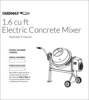 YM0046 - 1.6 Cu. Ft. Concrete Mixer