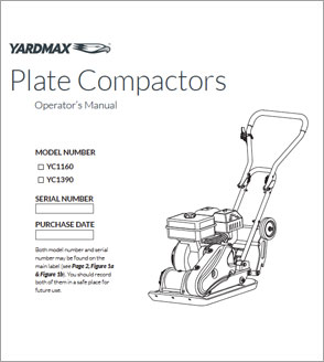 YC1390, YC1160 2500lb & 3000lb Compaction Force Plate Compactor