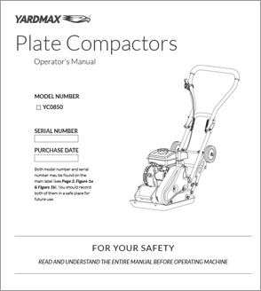 YC0850 - 1850lb Compaction Force Plate Compactor