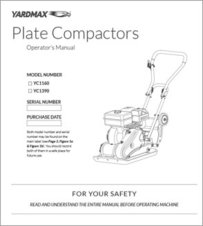 YC1390, YC1160 2500lb & 3000lb Compaction Force Plate Compactor