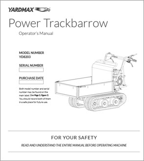 YD8203 - Power Trackbarrow w/ Gas Shock Assist – Flatbed