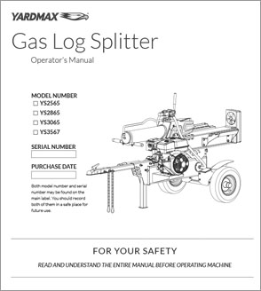 YS2565, YS2865, YS3065, YS3567 - Half Beam Gas Log Splitters